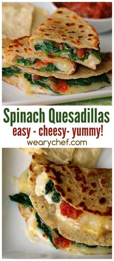 Spinach Quesadilla Recipe - The Weary Chef Dig into a cheesy, easy Mexican dinner with this Spicy Spinach Quesadilla Recipe!Dig into a cheesy, easy Mexican dinner with this Spicy Spinach Quesadilla Recipe! Veggie Recipes, Mexican Food Recipes, Vegetarian Recipes, Chicken Recipes, Cooking Recipes, Healthy Recipes, Skillet Recipes, Fast Recipes, Cooking Tools