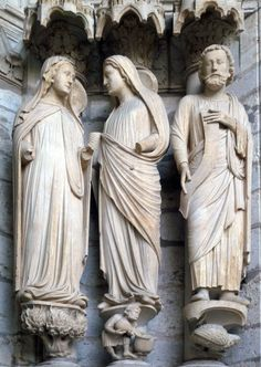 Chartres, Visitation (Mary and Anne) and Daniel, Jamb Figures, North Porch, Left (East) Portal, c 1194-1230, Cathedral of Notre Dame de Chartres, c.1145 and 1194-c.1220, Chartres (France)