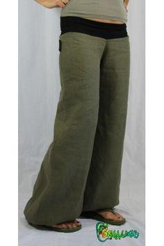 Pantalon large en lin kaki