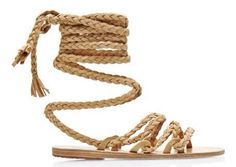 Kariatida Braided Strap Suede Sandals by Ancient Greek Sandals - Moda Operandi Beige Sandals, Beige Shoes, Suede Leather Shoes, Suede Sandals, Shoes Sandals, Pump Shoes, Heels, Rope Sandals, Strap Sandals