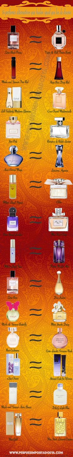 14 perfumes alternativos que huelen igual que los de diseño. #perfumes #infografía ***** More Info: www.dutyfreedepot.com/brandlist.aspx?brandsection=10&Intern=1opranda&bn=0