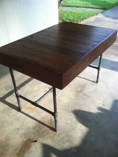 Industrial Pipe Leg and  Pallet Dining Table by Lapalletcreations, $450.00