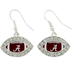 $5.50 Crystal Accented University of Alabama Football Shaped Earrings