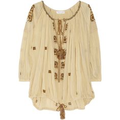 Étoile Isabel Marant Baker embroidered cotton-gauze smock top ($240) ❤ liked on Polyvore featuring tops, blouses, shirts, blusas, tie shirt, embroidery shirts, beige shirt, ruched shirt and ruched blouse