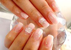 soft pink gel manicure for wedding nails