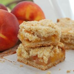 peach crumble bars...I just made these tonight and they are amazing! The smell was amazing and the taste was incredible. You could really use any fruit for the filling, but I do agree that the peaches were amazing. The only thing about this dessert that I found too much was the sweetness. When I make it again, I think I'll want to cut the sugar a little bit. But other than that, amazing!