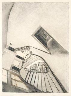 Adjugé 112 000 euros par Versailles Enchères à Versailles le 5 juillet 2015 : Sam SZAFRAN « ESCALIER », vers 1975 Fusain sur papier signé en bas au centre 78 x 58 cm.