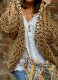 """""""Lovely cardigan"""" : Alice rises up Knitting Wool, Sweater Knitting Patterns, Crochet Cardigan, Knitting Designs, Boho Fashion, Winter Fashion, Fashion Outfits, Fashion Trends, Casual Outfits"""