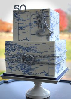 Nautical Map Cake