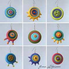 polymer clay art and stuff Polymer Clay Kunst, Sculpey Clay, Polymer Clay Projects, Polymer Clay Charms, Polymer Clay Creations, Polymer Clay Earrings, Clay Crafts, Bijoux Design, How To Make Beads