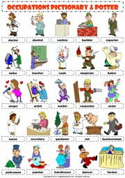 jobs occupations professions pictionary poster vocabulary worksheet 1 icon