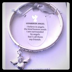 """Guardian Angel Charm Stretch Bracelet- Silver Tone This is simply adorable. This brand new guardian angel bracelet comes with a paper guardian angel bookmark. This is PERFECT to give to your best friend for the holidays!                Says around the bracelet: """"I believe in angels, the kind heaven sends. I am surrounded by angels, but I call them my friends"""". I only have 2 in stock so get one quick! Jewelry Bracelets"""