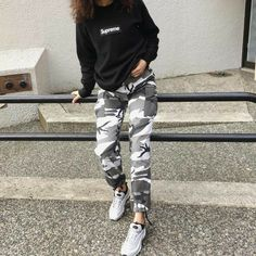 camo cargo pants for women camouflage trousers for dance group black and white camo pants army camo jogger pants pants Grey Camo Pants, Camo Pants Outfit, Camo Jogger Pants, Joggers Outfit, Outfits With Camo Pants, Casual Pants, Harem Pants, Tumblr Outfits, Trendy Outfits
