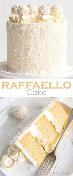 This Raffaello Cake is a coconut lover& dream! Layers of moist and tender a. , This Raffaello Cake is a coconut lover& dream! Layers of moist and tender almond cake, coconut custard, and coconut Swiss meringue buttercream. Food Cakes, Cupcake Cakes, Gourmet Cakes, Muffin Cupcake, Just Desserts, Delicious Desserts, Dessert Recipes, Coconut Desserts, Layer Cake Recipes