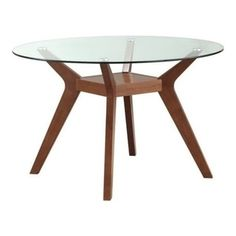 Shop Paxton Modern Nutmeg Wood Glass Round Dining Table with great price, The Classy Home Furniture has the best selection of to choose from Glass Round Dining Table, Walnut Dining Table, Dining Table In Kitchen, Dining Room Sets, Round Glass, Dining Tables, Coffee Tables, Coaster Furniture, Dining Furniture