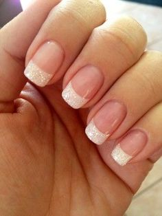 Subtle, elegant sparkle French tips.