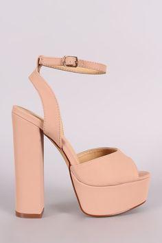 Liliana Nubuck Peep Toe Platform Chunky Heel