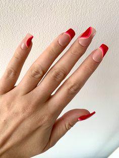 Orange Nail Art, Orange Acrylic Nails, Orange Nails, Colored French Nails, Line Nail Art, Cute Gel Nails, Nails Now, Stick On Nails, Nail Forms