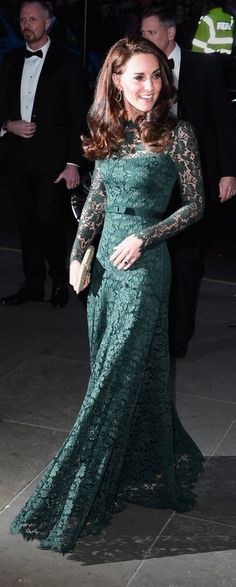 Floor length green lace.