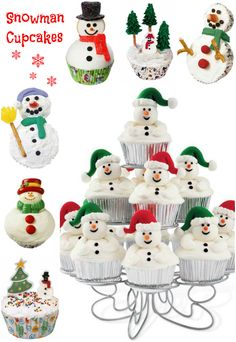 Holiday Recipe ● Directions & Recipes for all of these Snowman Cupcakes Christmas Sweets, Christmas Kitchen, Noel Christmas, Christmas Themes, Christmas Cookies, Holiday Ideas, Xmas, Ladybug Cupcakes, Snowman Cupcakes