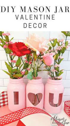 "DIY Valentine Gift: ""I Love You"" Mason Jar Flowers Centerpiece – Valentine Day Mason Jar Centerpieces, Flower Centerpieces, Quinceanera Centerpieces, Wedding Centerpieces, Diy Valentine, Homemade Valentines, Mason Jar Gifts, Mason Jar Diy, Jar Crafts"