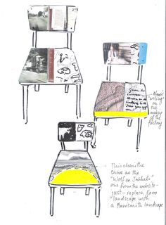 Designs for chairs for a carpet company depicting their history
