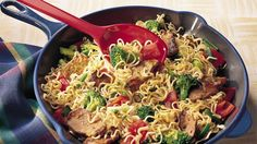 Enjoy the flavors of pork, ramen noodles and fresh veggies in this done-in-a-flash stir-fry.