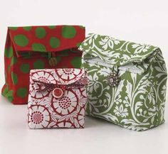 "Free online tutorial  Lunch Sack Gift BagsWe don't know which is more fun-choosing the fabrics for these ""lunch sack"" gift bags or planning what treats they'll contain. For the closure, use a covered button, two or more stacked buttons, or vintage costume jewelry."
