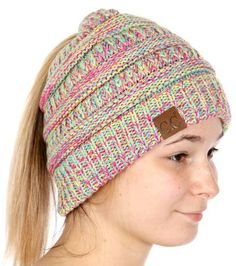 6964eb10dc312 Wholesale Q09 C.C Multi color beanie tail Made in Korea Yellow Hot  pink Turquoise