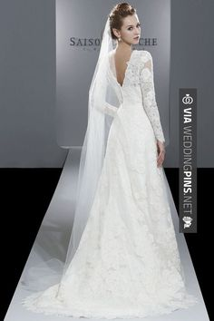 So neat - The runway makes it hard to see the dress.. But this is beautiful! Loving lace and long sleeves right now!   CHECK OUT THESE OTHER FANTASTIC SHOTS OF WINTER WEDDING DRESSES 2016 HERE AT WEDDINGPINS.NET   #winterweddingdresses #winterwedding #winter #2016 #weddings #weddingvows #vows #tradition #nontraditional #events #forweddings #iloveweddings #romance #beauty #planners #fashion #weddingphotos #weddingpictures