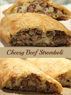 Hearty.Cheesy delicious. Filling finger food. Meal in a crust. You'll love Cheesy Beef Stromboli. Plus it is quick and easy! Just beef and cheese – no tomato sauce. Each sentence:… Spanakopita, Fingerfood, Ethnic Recipes, Meal