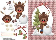 Cute Reindeer With Snowballs For Sale in dark red oval shaped frame with…