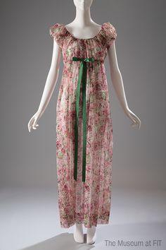 Iris printed nylon nightgown, circa 1950.
