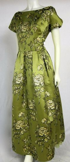 1950s 60s GOLD ROSES Green Satin Long Formal Dress -LARGE! | From a collection of rare vintage evening dresses at http://www.1stdibs.com/fashion/clothing/evening-dresses/