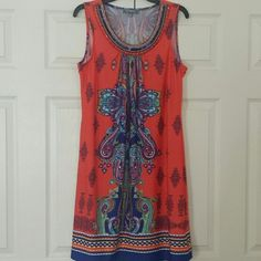 "NWOT NY Collection Summer Dress Beautiful spandex NY Collection dress. Never used. Approx. Length 37"", Bust 19"" (armpit to armpit) and shoulder to shoulder 14"". No damages or stains. NY Collection Dresses"