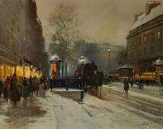 Уличная сцена в Париже (29 х 35.5 см). Eugene Galien-Laloue