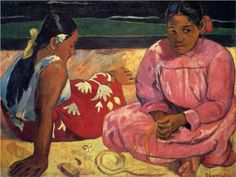 Tahitian women - Paul Gauguin Completion Date: 1891 Place of Creation: French Polynesia Style: Cloisonnism Period: 1st Tahiti period Genre: genre painting Technique: oil Material: canvas Dimensions: 69 x 91.5 cm Gallery: Musée d'Orsay, Paris, France