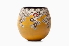 Yellow Honeycomb Pot by South African ceramic artist Andile Dyalvane