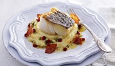 Pan-Fried Skrei Cod with Chorizo, Lemon, Pomegranate & Mashed Potato recipe from Norwegian Seafood Council Cod Recipes, Potato Recipes, Seafood Recipes, Salmon Recipes, Chorizo, Roasting Tins, Roasted Mushrooms, Oven Roast, Fish And Seafood