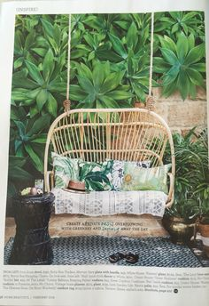 "Love this 2 seater cane chair. Devine. House & Garden Feb 2016. Byron bay hanging chairs "" the Lucy love seat"" $675"