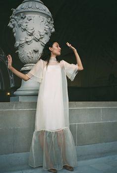 Kamperett Barre Silk Organza Dress - Ivory on Garmentory Organza Dress, Silk Organza, Silk Charmeuse, Mode Chic, Silk Slip, Perfect Wedding Dress, Quirky Wedding Dress, Mode Vintage, Timeless Fashion