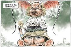 (Cartoon by David Pope - Canberra Times) Abbott in cohorts with PNG to cover up HUMAN RIGHTS VIOLATIONS.