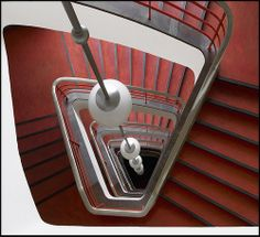 Hans Poelzig, Haus des Rundfunks (House of Broadcasting) Berlin Amazing Architecture, Architecture Details, Modern Architecture, Staircase Handrail, Grand Staircase, Spiral Staircase, Hans Poelzig, Berlin, Stairs Window