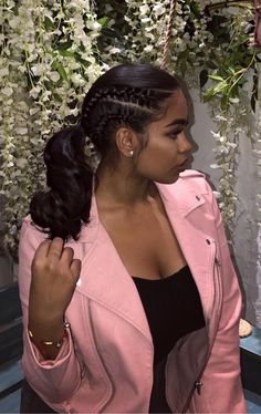 Pinner Side Cornrows and Ponytail Hairstyle Image Size 602 x 955 Board Name Black girls hairstyles V Black Girls Hairstyles, Pretty Hairstyles, Straight Hairstyles, Layered Hairstyles, Medium Hairstyles, My Hairstyle, Ponytail Hairstyles, Relaxed Hair Hairstyles, Stylish Hairstyles