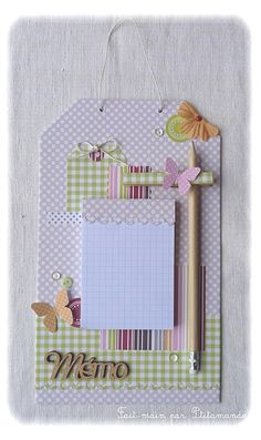 idea for a memo board: Diy And Crafts, Crafts For Kids, Paper Crafts, Scrapbook Albums, Scrapbooking, Clipboard Crafts, Post It Note Holders, Craft Fairs, Diy Gifts