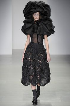 John Rocha brings his usual obsession with ruffles to his A/W14 collection @ London Fashion Week