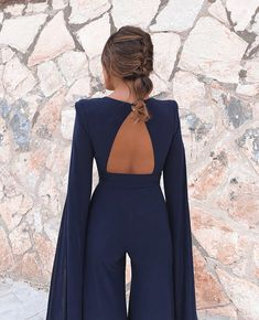 Tosheiny 2019 New Summer Sexy Deep V Bodysuits Elegant Rompers Chiffon Long Sleeve Backless Sexy Bodycon Jumpsuit Classy Outfits, Trendy Outfits, Dress Outfits, Fashion Dresses, Mode Ootd, Elegant Outfit, New Dress, Designer Dresses, Clothes