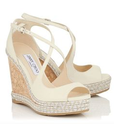 Featured Shoes: Jimmy Choo; Cream colored wedges #jimmychooflats