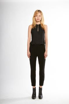 Nili Lotan | Resort 2015 | 15 Black sleeveless top and cropped trousers (front)