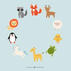 Ring composed of cartoon animals vector Green Animals, Baby Animals, Cute Animals, Baby Cartoon Drawing, Cartoon Drawings, Black Cat Illustration, Illustration Kids, Cute Koala Bear, Animal Hugs
